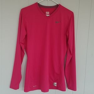 Nike Pro Nike Fit Pink Long-sleeve Athletic Top, L